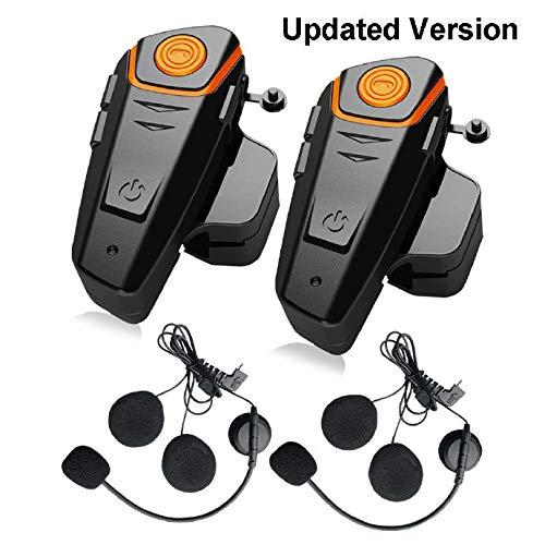 QSPORTPEAK BT-S2 Bluetooth Motorcycle Helmet Communicator Headset, 2 or 3 Riders and Audio for Walkie Talkie GPS Hands Free MP3 Player FM Radio (2 Pack)