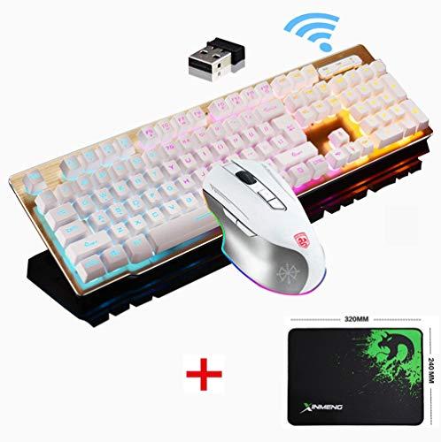 LexonTech 2,4 G wiederaufladbare kabellose Tastatur und Maus Set, MK500 Gaming-Tastatur und Maus, Regenbogen-LED-Hintergrundbeleuchtung + 2400 DPI wiederaufladbare Gaming-Maus+gratis Gaming-Mauspad