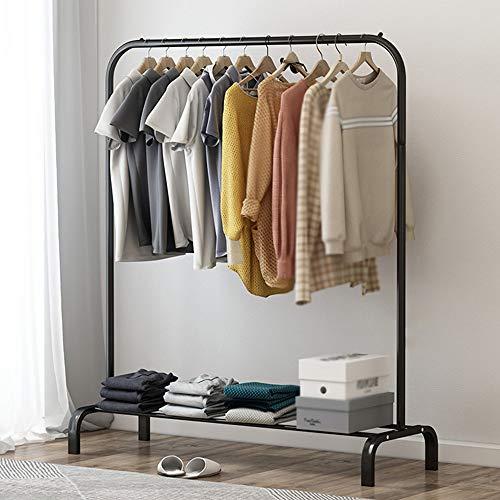 AY Expositor de tienda de ropa de pie, estante de doble capa de hierro forjado para el hogar, estable y resistente/Negro / 105cm