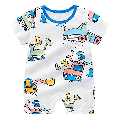 Treer Strampler Baby Mädchen und Jungs, Spielanzug 100% Baumwolle Sommer Babybody Baby Kurzarm-Body für Neugeborene Weich Short-Sleeve Bodysuits (80cm,Blauer Baggerlader)