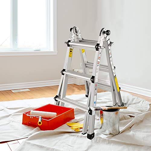 Aluminum Extension Ladder with 300 lb Duty Rating (Load Capacity Type IA), Model 13 Feet Durable and Multi-Purpose Telescoping Ladder with Non-Slip Rubber Feet