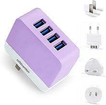 URbantin USB-stekkerlader, wandladers met 4 USB-poort universeel verwisselbaar UK/EU/US/AU netwerk reizen buitenland stekk...