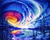 DIY Acrylic Paint by Number Kit for Adults Beginner 16x20 inch - Aurora Night Sky, Drawing with Brushes Christmas Decor Decorations Gifts (Without Frame)