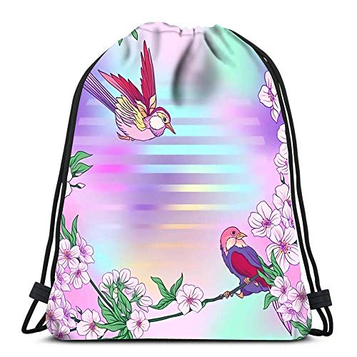 Hdadwy Drawstring Backpack Bags Sports Cinch Japanese Blossom Sakura and Birds for School Gym