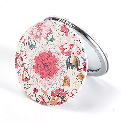 Dynippy Compact Mirror Round Pu Leather Makeup Mirror for Purses Small Pocket Mirror Portable Hand Mirror Double-Sided with 2 x 1x Magnification for Woman Mother Kids Great Gift - Floral Flower