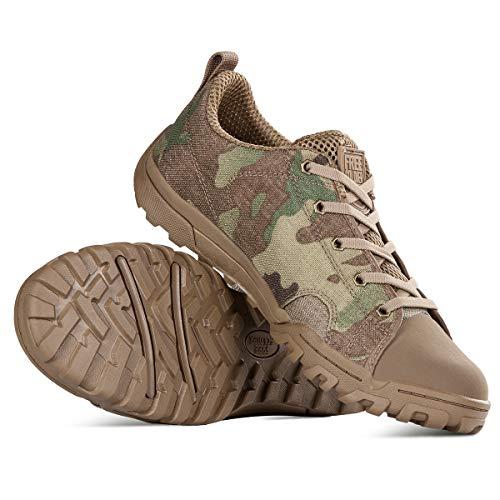 Free Soldier Botas Militares para Hombres Botas tácticas de Camuflaje con Cordones y Goma para Caminar, Correr, Zapatos Transpirables Abiertos y de Trabajo Ligero(Botas Bajas de Camuflaje,41 EU)