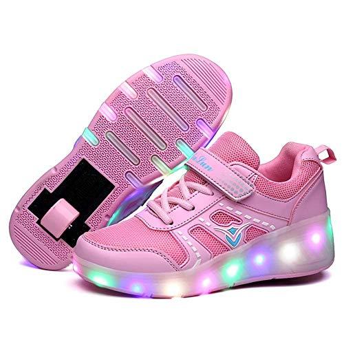 Einzelräder Einziehbare Skateboard Rollerblades Kids Lightweight Fashion Sneakers LED Leuchten Schuhe Einzelrad Doppelräder Rollschuh Schuhe,Pink-9child