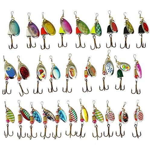FREE FISHER 30 Piezas Cucharillas de Pesca Spinners de Pesca Señuelos de Pesca Spinning para Lucio Perca Trucha Pike Salmon Bass