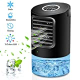 OVPPH Portable Air Conditioner Fan, Personal Fan Desk Fan Space Air Cooler Mini Table Fan Air Circulator Ultra-Quiet Purifier Cooling Fan with Handle and 7 Colors LED Lights for Home, Office, Dorm