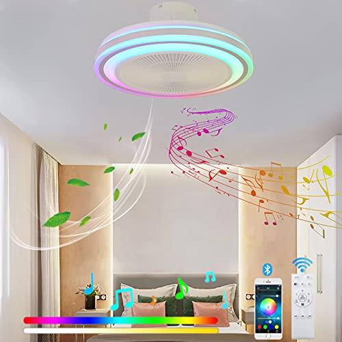 VOMI Moderno Ventilador de Techo con Luz Dormitorio RGB Dormitorio Lámpara de Ventilador con Mando a Distancia LED Bluetooth Altavoz Silencioso Ventilador para Dormitorio Salón Restaurante