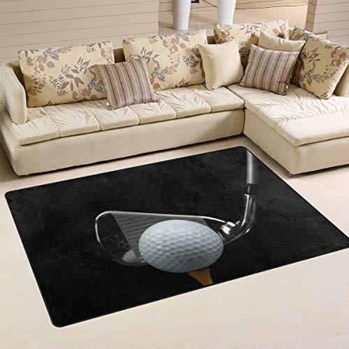 Marlon Kitty Ball Club Golf Alfombra Negra Alfombra de Piso Alfombra Lavable Decoración Sala de Estar y Comedor Alfombra 60 x 39 Pulgadas