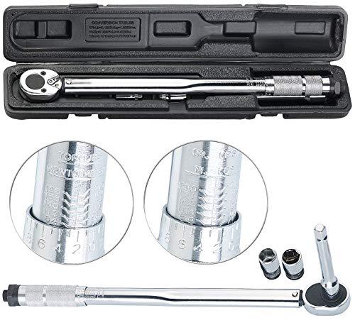AGT Professional Drehmomentenschlüssel: Profi-Drehmomentschlüssel mit Stecknuss-Set, 28-210 Nm, Verlängerung (Drehmomentschlüssel Auto)