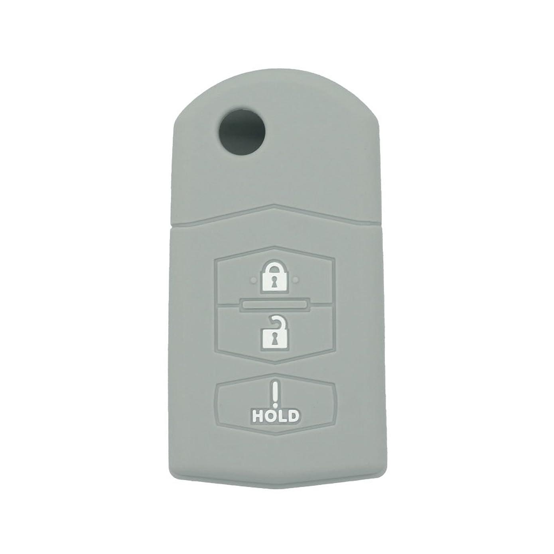 SEGADEN Silicone Cover Protector Case Skin Jacket fit for MAZDA 3 Button Flip Remote Key Fob CV2532 Gray