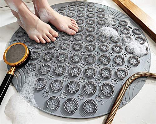 VSUSN Duschmatte Rund Duscheinlage PVC Badezimmermatte rutschfest Duschwanneneinlage mit Saugnäpfe Duschmatten für Badezimmer Maschinenwaschbar 55x55 cm,Grau