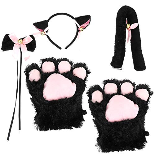 FRCOLOR Conjunto de Disfraz de Gato para Mujer Diadema de Oreja de Animal Diadema para Pelo Cola Lazo Cuello Garra Para Fiesta de Carnaval de Pascua Gatito Lolita Accesorios Cosplay