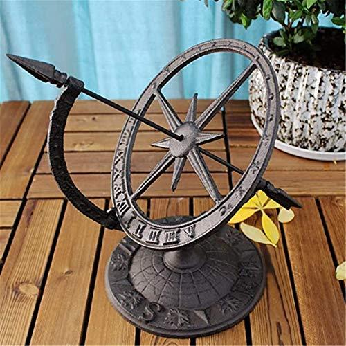 KORANGE Sundial Clocks Cast Iron Armillary Sundial with Arrow Sundials for The Garden Sun Dial