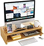 Bambus Monitorständer Bildschirmständer Stauraum von Zwei Schichten Schreibtisch Organizer Bildschirmerhöhung mit Abnehmbarer Platte Laptopständer 60x30x15cm