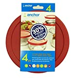 Anchor Hocking Replacement Lids 1x7cup, 1x4cup, 1x2cup, 1x1cup, Red Round lid