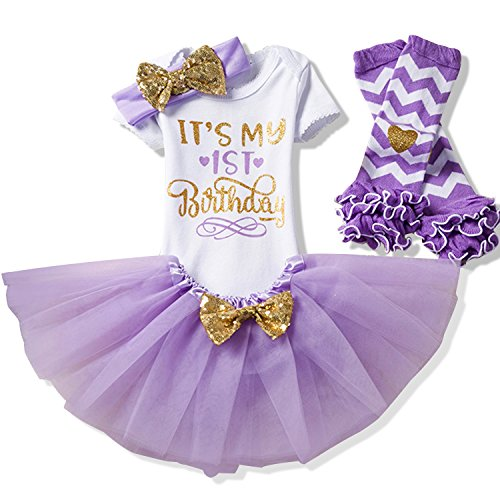 NNJXD Girl Newborn It's My 1st Birthday 4 Pcs Outfits Romper+Skirt+Headband+Leggings Size 1 (1 Years) Purple