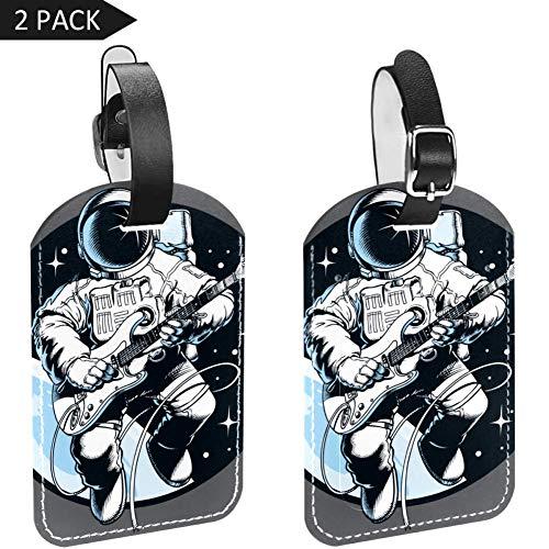 Etiquetas de equipaje para maleta de viaje, de cuero, de astronauta tocando guitarra, 2 paquetes