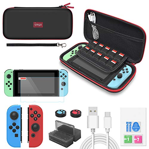 Switch Accessories Bundle - YUANHOT Essential Kit for Nintendo Switch with Carrying Storage Case, Screen Protector, Joy-Con Protective Cover, Games Holder, Thumb Caps – Black