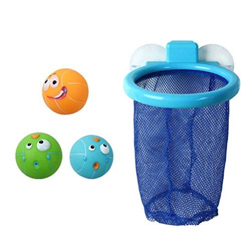 TOYMYTOY Badewannen Basketball mit Saugnapf Net und 3 Bälle Kinder Badespielzeug Bad Spielzeug Aufbewahrung