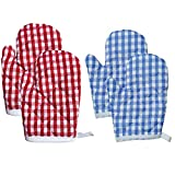 Kinder Kochhandschuhe Mikrowelle Backhandschuh 4 PCS Hitzebeständige Handschuhe Plaid Backhandschuh Ofenhandschuhe Wärmedämmung Handschuhe Verdickte Für Kinder Küche Gitter Stil Blau Rot