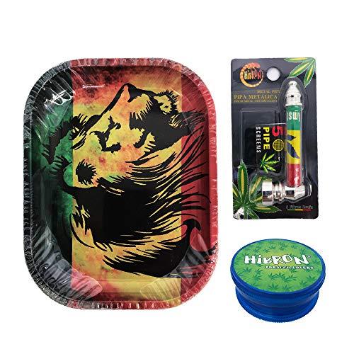 Kit de iniciación para fumadores, contiene 1 grinder aleatorio, 1 bandeja (León) y 1 pipa aleatoria