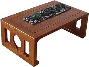 Mesa de té Tatami de Madera Maciza Ventana de la Ventana Viejo Olmo Piso Tabla Baja de Moda Simple pequeña Mesa Mesas de Centro (Color : Brown, Size : 70 * 45 * 30cm)