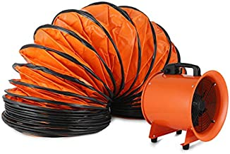 Hihone 12'' Utility Blower Fan 3300RPM Heavy-Duty Velocity Air Circulator Low Noise for Industril Portable Ventilator Utility Blower Fan Portable Utility Fan with 5M Duct Hose