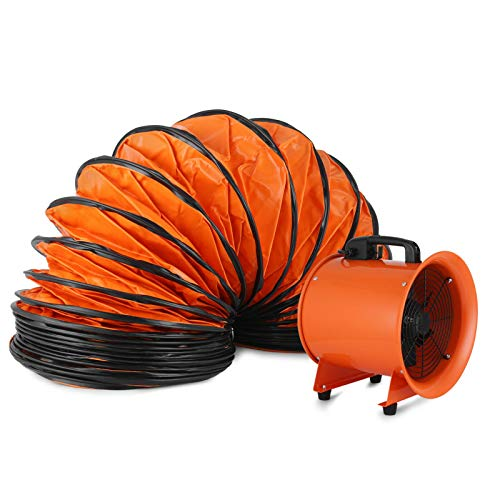 Hihone 12'' Utility Blower Fan 3300RPM HeavyDuty Velocity Air Circulator Low Noise for Industril Portable Ventilator Utility Blower Fan Portable Utility Fan with 5M Duct Hose