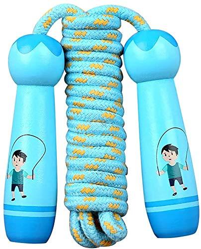 QIYUE Saltarse los niños saltar la cuerda ajustable cuerda con mango de madera se enreda saltar la cuerda for los hombres, mujeres, niños, Segmento Saltar la cuerda for Entrenamiento, Entrenamiento 3M