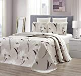 GrandLinen 3-Piece Fine Printed Oversize (100' X 95') Quilt Set Reversible Bedspread Coverlet Queen Size Bed Cover (Taupe, Brown, White Tulip Floral)