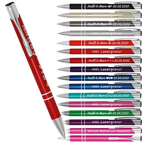 """Kugelschreiber mit Gravur """"Hochzeitsdesign"""" – personalisierbar – inklusive verschiedener Motive – von Your Gravur – Anzahl: 50"""