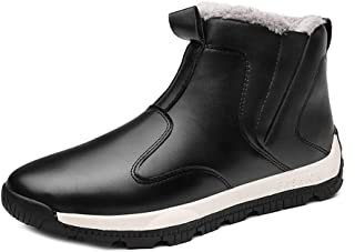 Naisidier Men Snow Boots PU Upper Slip On Ankle Boots with Warm Faux Fur Lining and Non Slip Sole for Winter Hiking and Working