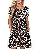 CHERFLY Vestido de Camiseta Verano Casual para Mujer Mangas Cortas con Bolsillos (Leopardo,XXL)