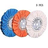 8' Airway Buffing Wheel, 5/8'' Arbor Hole, 16 Ply Fine/Medium/Coarse Polishing for Angle Grinder, White/Orange/Blue 3PCS