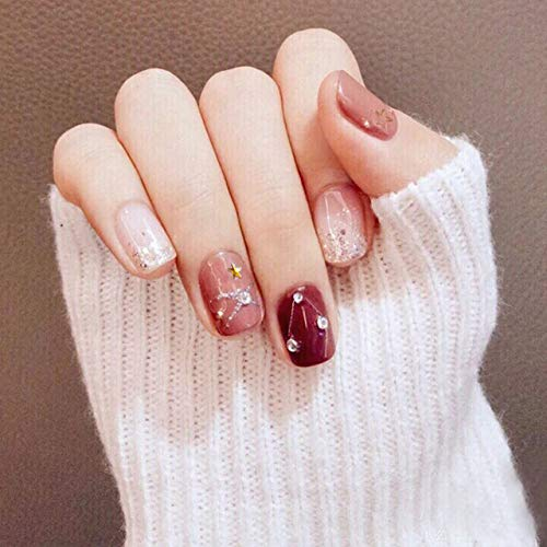 rpbll 24pcs/box Flash Diamond and Star Pattern Decorated Wearable Short Fake Nails Wine Red Bean Paste Jumping Color Finished Nails TY as