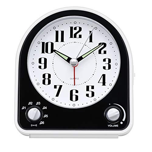 Eachui Analog Wecker mit 7 Alarmtöne, Nachtlicht, Snooze, Kein Ticken, Geräuschlos mit Einstellbare Lautstärke, Batteriebetrieben