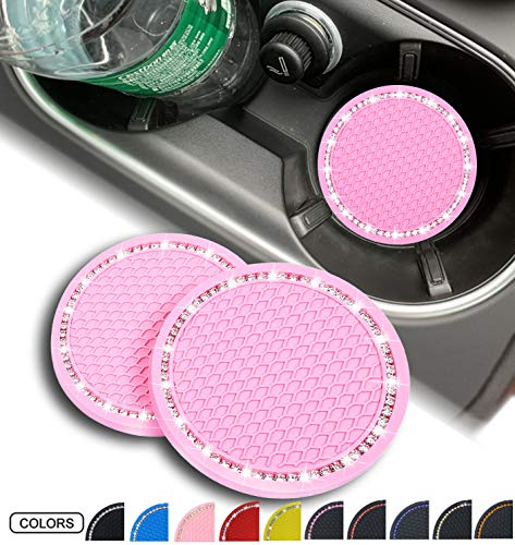 2 Pack Bling Car Coasters PVC Travel Auto Universal Cup Holder Insert Coaster Anti Slip Crystal Vehicle Interior Accessories Cup Mats for Women and Girl (2 Pink with White Crystal)