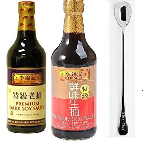 Lee Kum Kee Premium Light Soy Sauce, 16.9-Ounce + Lee Kum Kee Premium Dark Soy Sauce - 16.9 fl. Ounce + One NineChef Spoon