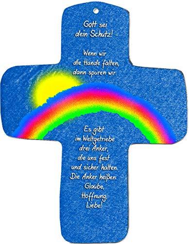 """metalum Premium-Kreuz aus Metall""""Gott sei dein Schutz"""" zum Aufhängen -ein wirklich ausgefallenes christliches Geschenk"""