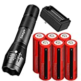 Tokeyla LED Flashlight 5 Working Modes Rechargeable Flashlight With 6 Pack 18650 Rechargeable Battery And 2 Slot 18650 Battery Charger Flashlight Suitable For Camping Hiking Outdoor Emergency Etc
