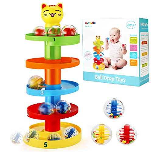 Ucradle 5 Layers Ball Drop Ball Ramp Ball Drop Toy Marble Run Colorful Rolling Ball Tower Funny Swirling Cat Children Puzzle Game Baby Educational Toys for 1 2 Year Old Boy Girl Toddlers