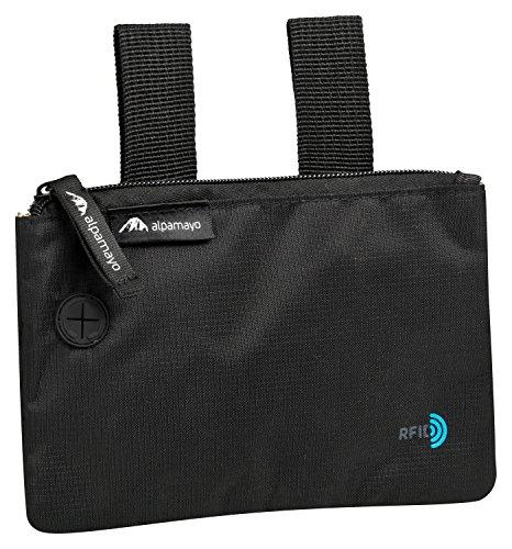 Alpamayo® RFID Blocking Sicherheits-Gürteltasche, Reisegeldbeutel zur sicheren Befestigung am Gürtel und Tragen unter der Kleidung. Geldaufbewahrung mit Diebstahlschutz