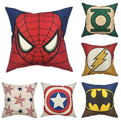 JWEK Funda de Almohada Cojín de 6 Piezas Superhero Pillow Avengers Lumbar Pillow Pillowcase 45 * 45Cm