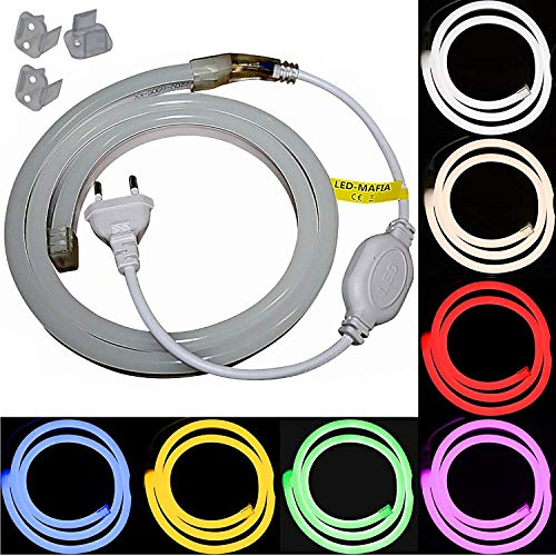 1-5m LED Neon Flex Lichtschlauch - 230V bei 8W/m - Wasserfest - Streifen Band - warmweiß weiß rot - 17,99€/m Licht (gelb, 1m)