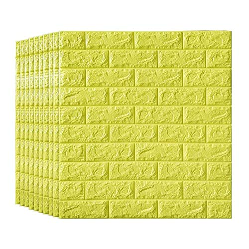 KUNYI 3D Brick Tapete, Removable Peal und Stick-PE-Schaum-Wand-Aufkleber for Wohnzimmer Home Office, Multi-Color Optional (Color : Yellow, Size : 15 Pack)
