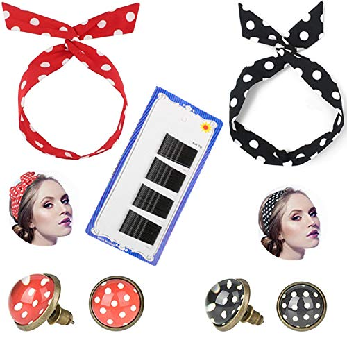 PPX 2 Pcs Polka Dot Haarband + 2 Paar Polka Dot Ohrstecker Ohrringe Rockabilly Ohrringe[ Rot - Schwarz ] und 60 Stück Schwarzes Metall Wellenform Haarklammern für Damen, Haarschmuck | Haarbänder