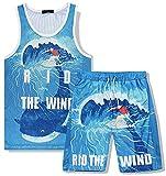 XIKONG Mens de 2 Piezas Trajes Sportswear Beach Camisa de Manga Corta y Pantalones Cortos Set Joggers Chándal de Secado rápido para Vacaciones Junto al mar Blue-M